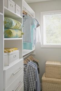 Well organized walk-in closet.